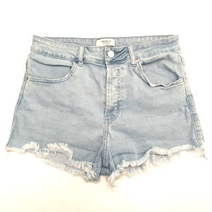 FOREVER 21 womens cut off shorts size 28 blue high rise button fly ripped denim